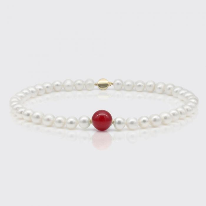 Halskette - Süßwasserperlen, rote Jade