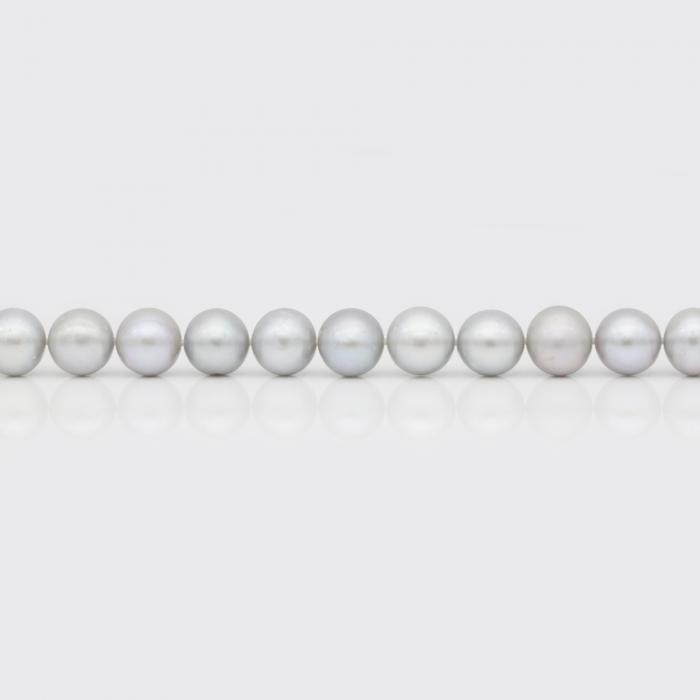 Halskette - hellgraue Süßwasserperlen (10 mm)