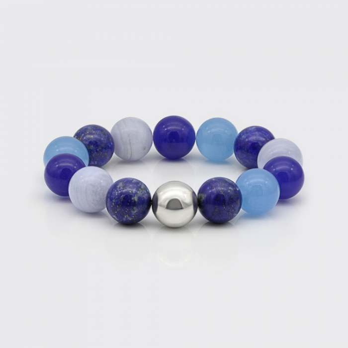 Armband - Lapis Lazuli, Chalcedon, Blauquarz, Blauachat