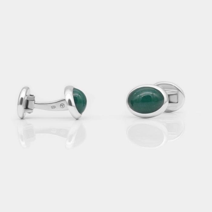 Manschettenknöpfe - Grünachat, Silber