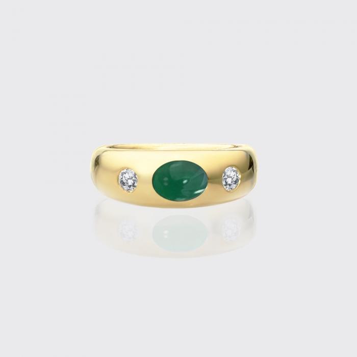 klassischer Bandring (breit) - Smaragd, Brillanten