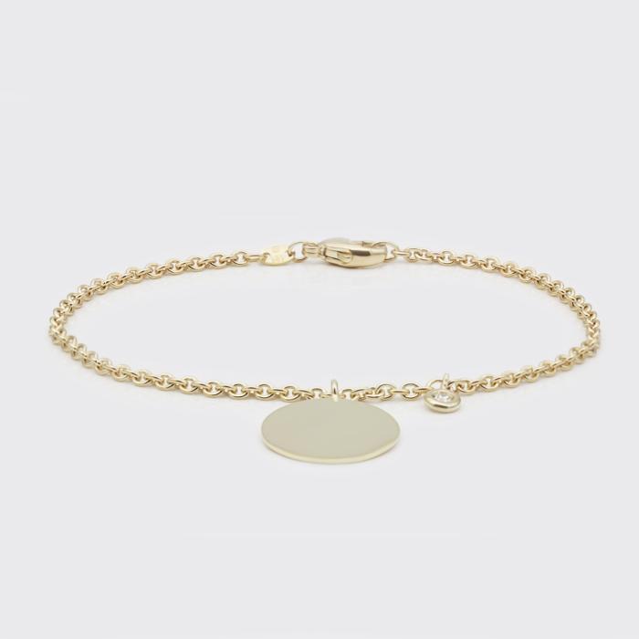 Armband - Gelbgoldplakette, Brillant