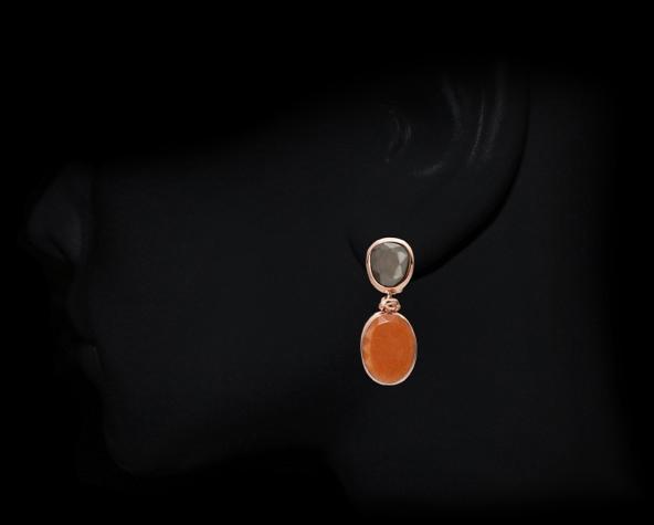Clipstecker klein - grauer Achat, orange Aventurin