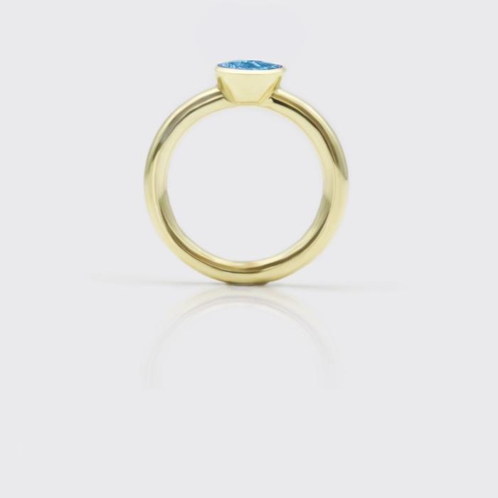 Ring - Blautopas Solitaire Gelbgold
