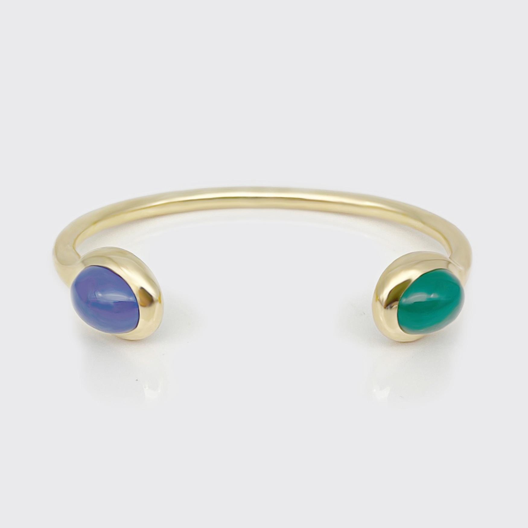Armspange goldplattiert - Grünachat, Blauachat