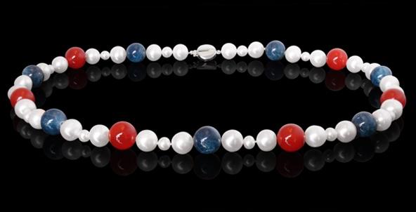 Halskette - Süßwasserperle, rote Jade, Apatit