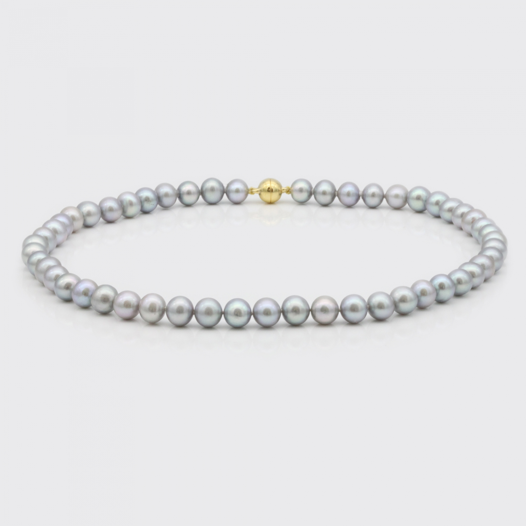 Halskette - hellgraue Süßwasserperlen (7,5-8 mm)