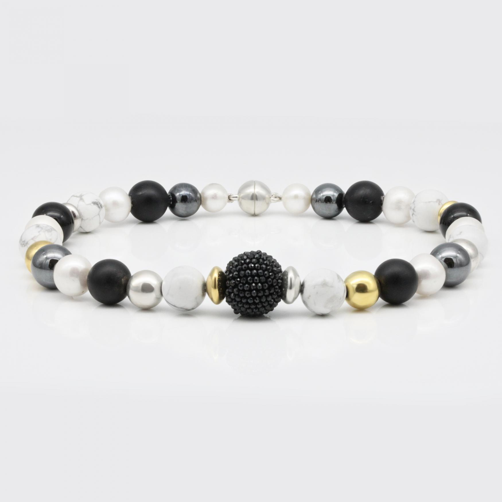 Halskette - Schwarz, Weiß