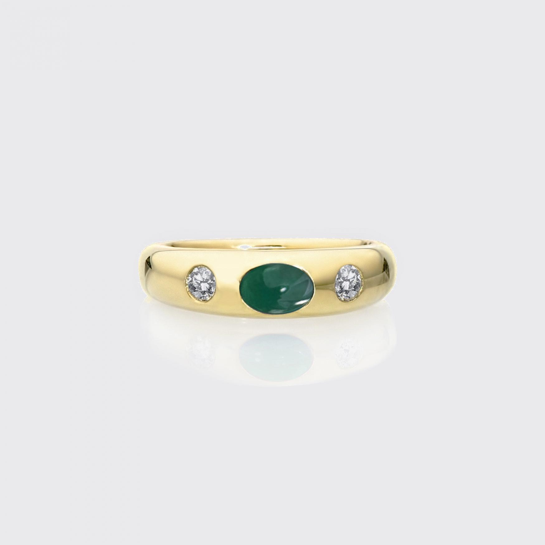 klassischer Bandring (schmal) - Smaragd, Brillanten