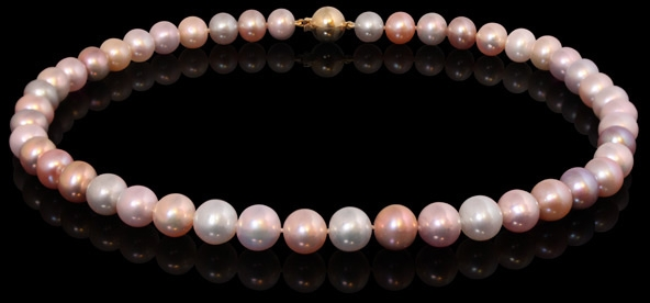 Halskette - multirosé Süßwasserperlen