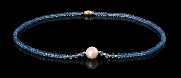 Halskette - Süßwasserperle, Bergkristall