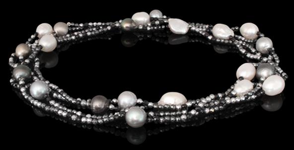 Halskette - Süßwasserperle, Citrine