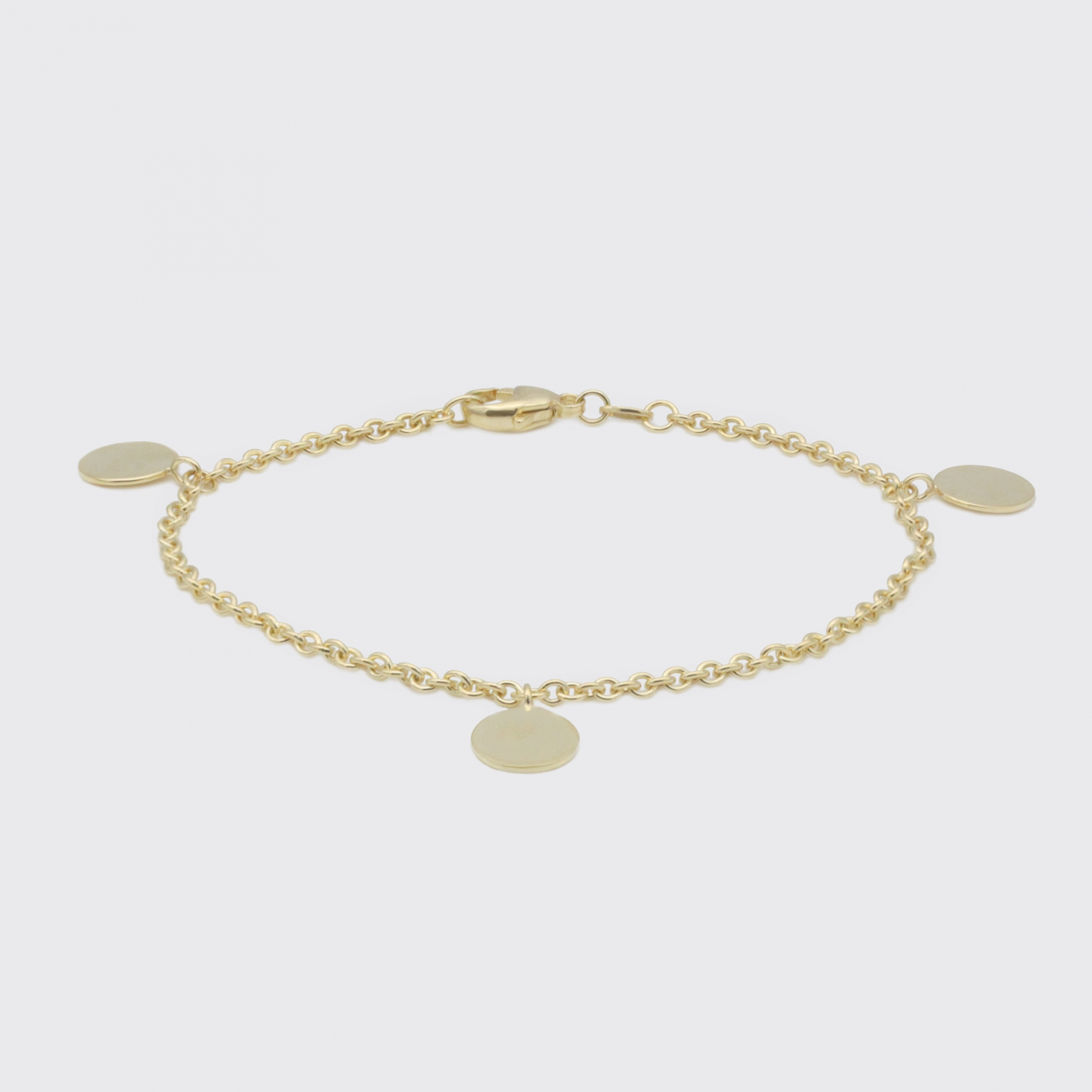 Armband - 3 Gelbgoldplaketten