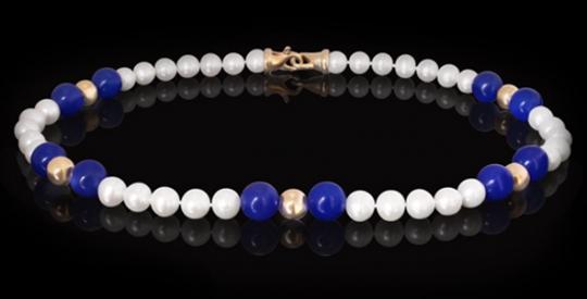 Halskette - Süßwasserperle, Blauachat, Goldkugel