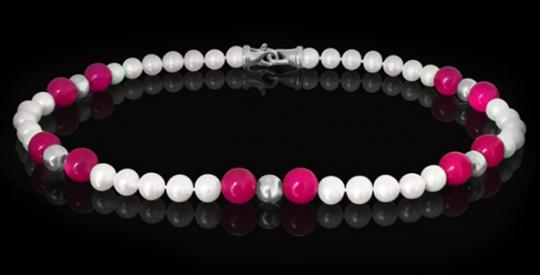 Halskette - Süßwasserperle, pink Jade, Silberkugel