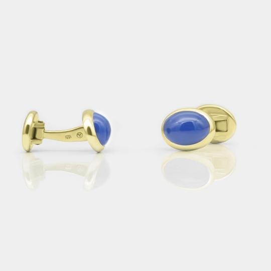 Manschettenknöpfe - Blauachat, Silber goldplattiert