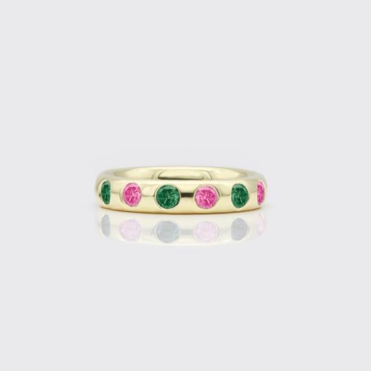 Circuit Ring Mod.2 - rosa und grüner Turmalin