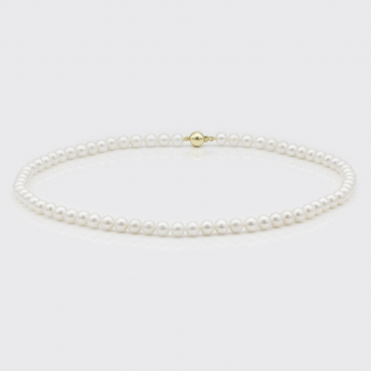 Halskette - weiße Süßwasserperlen (6 mm)