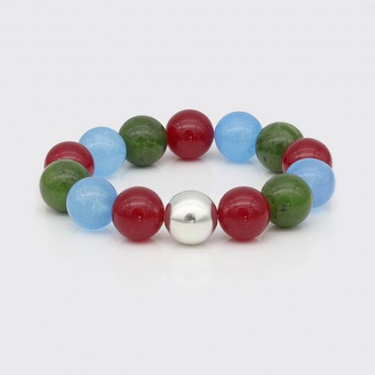Armband - blauer Quarz, rote und grüne Jade
