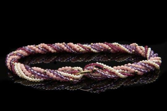 Vario-Collier - lila-rosa-weiß