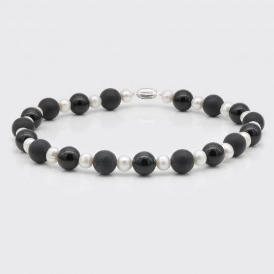 Halskette - Onyx matt und glatt, Süßwasserperle