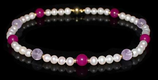 Halskette - Süßwasserperle, Jade pink, Amethystquarz