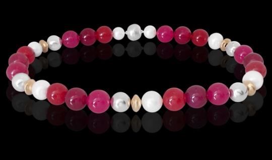 Halskette - Rot, Weiß