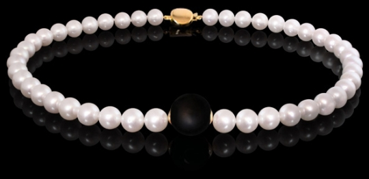 Halskette - Süßwasserperlen, Onyx matt