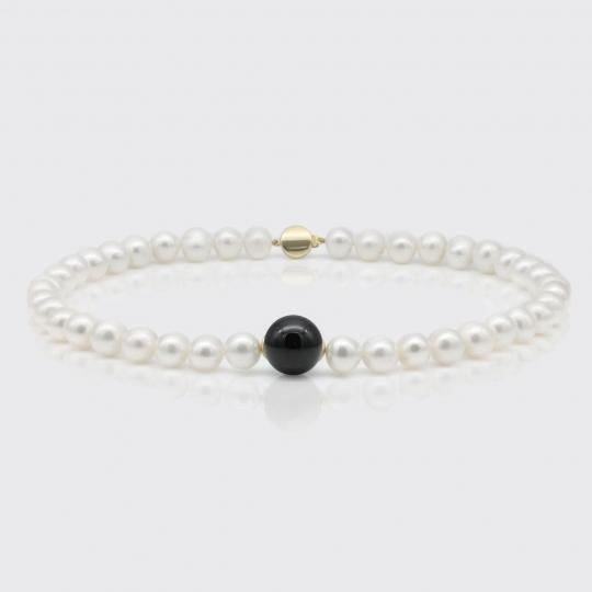 Halskette - Süßwasserperlen, Onyx glatt