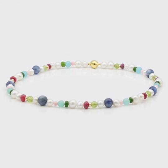 Halskette - rot-lila-grüne Edelsteine, Süßwasserperlen