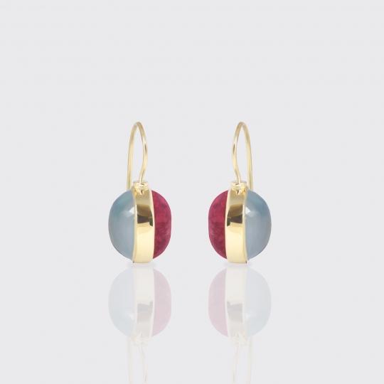Ohrhänger - grün und rosé Turmalin