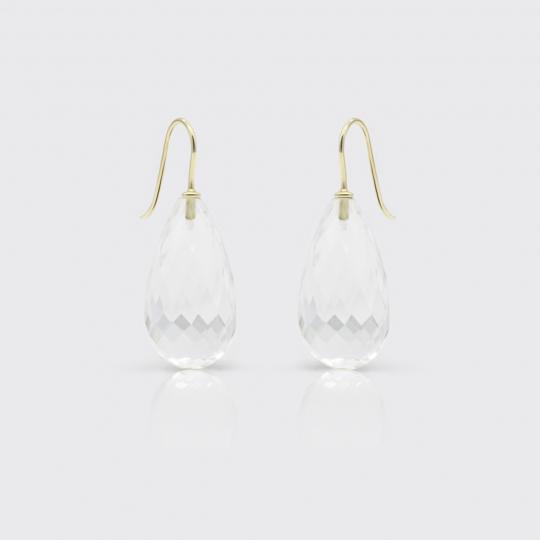 Ohrhänger - facettierte Bergkristall-Tropfen