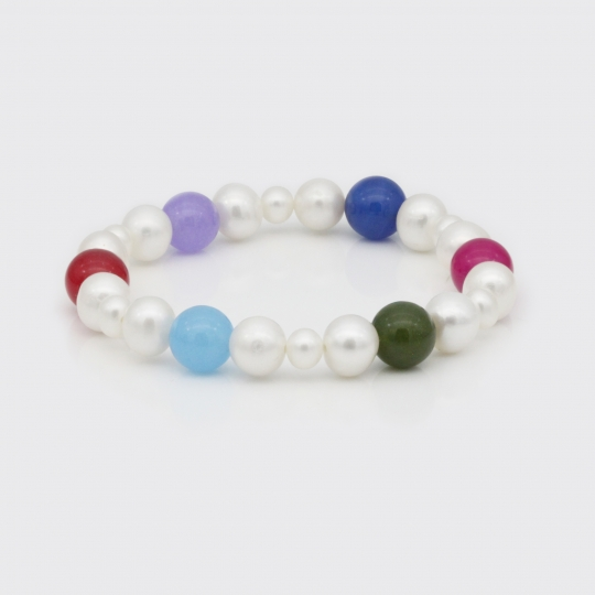 Armband - diverse Süßwasserperlen, Edelsteine