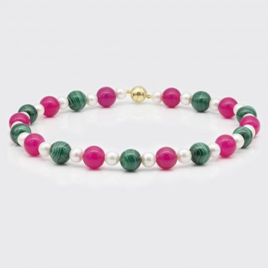 Halskette - Süßwasserperle, Malachit, pinke Jade