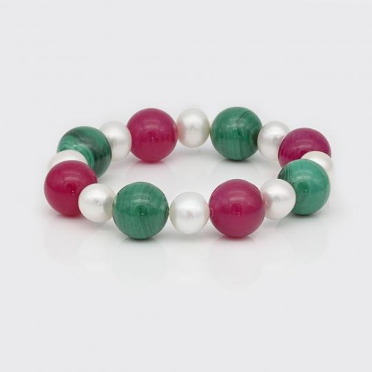 Armband - Süßwasserperle, Malachit, pinke Jade