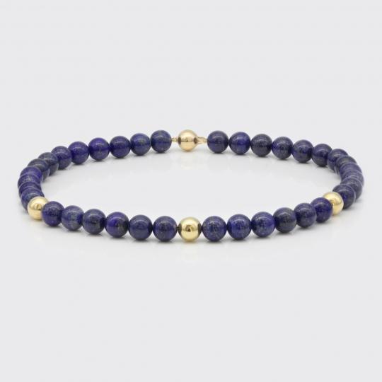 Halskette - Lapis Lazuli, Gelbgold