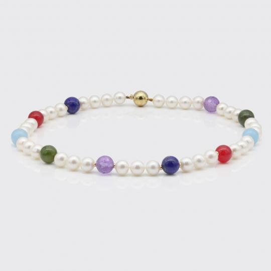 Halskette - Perlen, Edelsteine, Gold