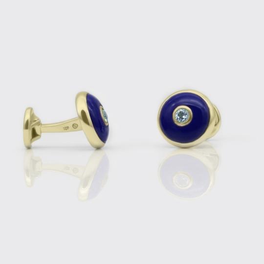 Manschettenknöpfe - Blauachat, Blautopas, Gold