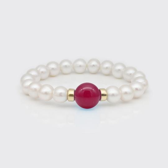 Armband - Süßwasserperlen, Jade pink
