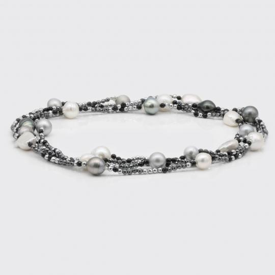Halskette lang - Spinell, Hämatit, Perle