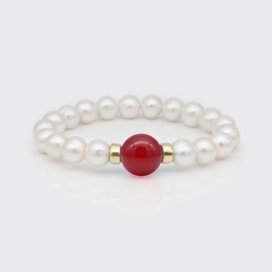 Armband - Süßwasserperlen, Jade rot