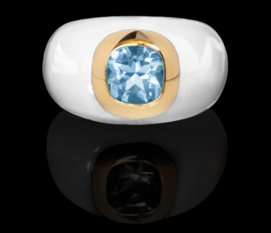 Ring Resin - Blanc, Topas bleue