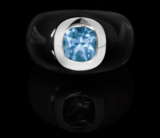 Ring Resin - Noire, Topas bleue