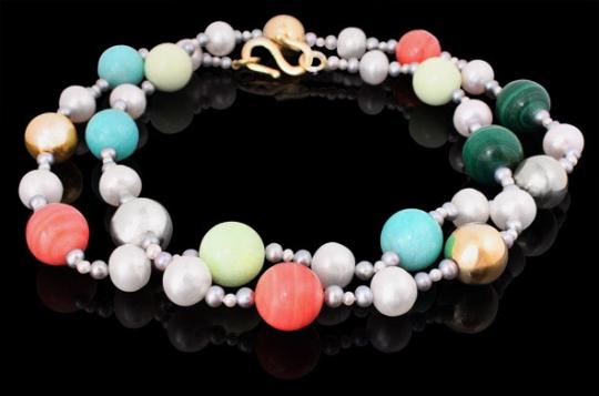Halskette lang - Perlen und Edelsteine