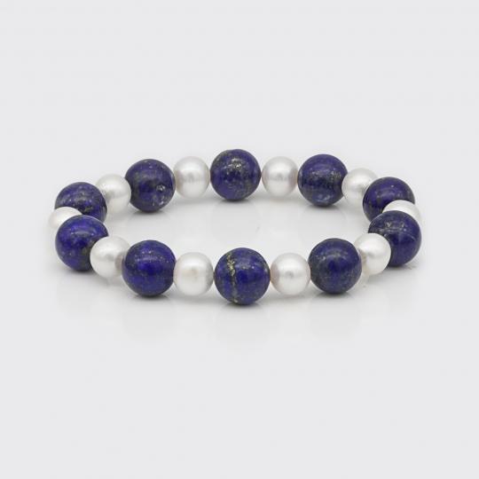 Armband - Süßwasserperlen, Lapis Lazuli
