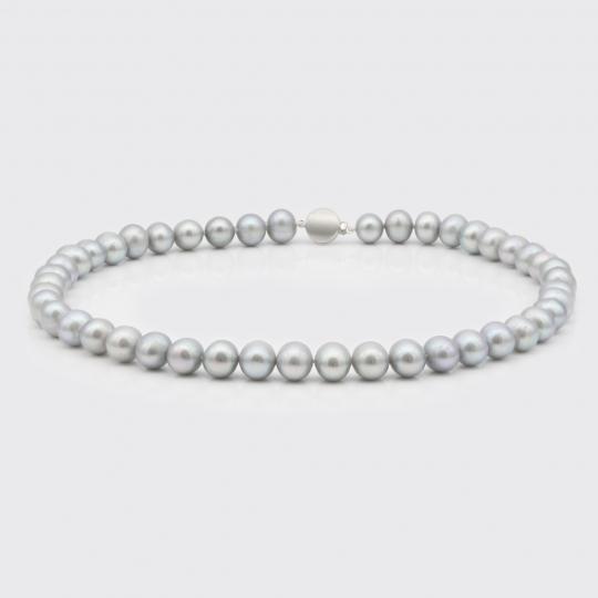 Halskette - hellgraue Süßwasserperlen (8 mm)