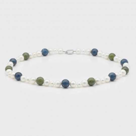 Halskette - Süßwasserperle, Nephrit, Apatit