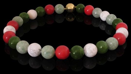 Halskette - grün, rot, weiße Edelsteine