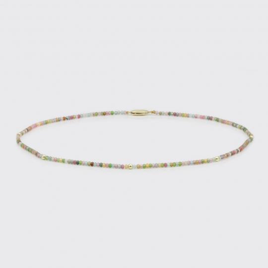 Halskette - Turmaline, Goldkugeln