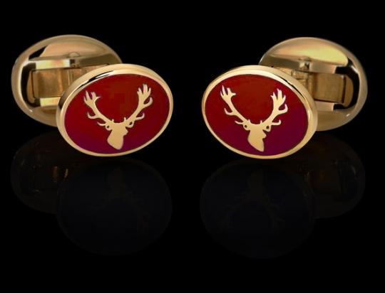 Manschettenknöpfe - goldener Hirsch auf Rot